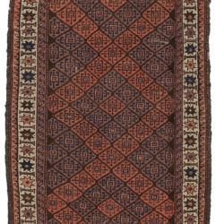 "Antique Belouchi Tribal Area Rug with Star Border 2'7""×4'7"""