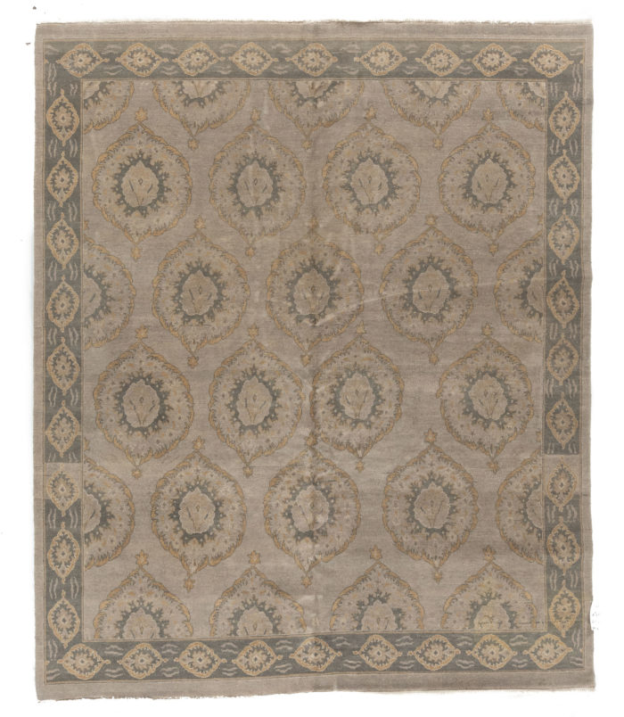 """<span style=""""color:#cfa749"""";>NEW!</span> Indian Modern 8'2""""&times;9'9""""<br><span style=""""color:#38537d"""";><b>Super Saturday Sale</b></style><br><strike>$7000</strike> <b>$1250</b>"""