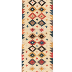 "New Afghan Kilim Cream Runner 2'8""×13'1"""