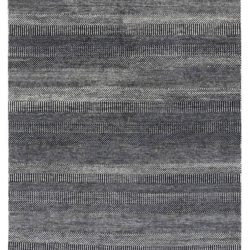 """New Black and Ivory Hand-Knotted Transitional Rug 6'1""""×9'7"""""""