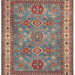 """New Kazak Design Wool Hand-Knotted Rug with Light Blue Field 8'1""""×10'0"""""""
