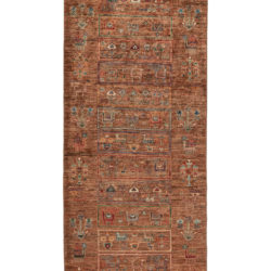 """New Pakistani Khoy Tribal Pictorial Runner with Brown Hand-Knotted Wool 2'9""""×10'3"""""""